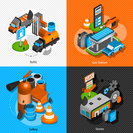 refuel: Gas diesel station refuel pump convenience store and safety isometric icons composition banner abstract isolated vector illustration