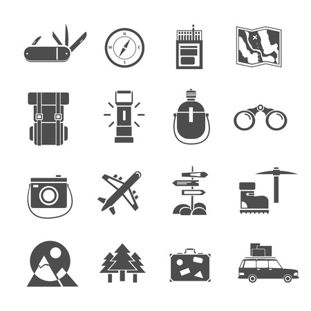 mountain snow: Outdoor activities hiking tourism accessories black icons set backpack and mountain snow boots abstract isolated vector illustration