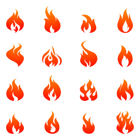 Fire silhouette red and orange color flat icon set isolated vector illustration
