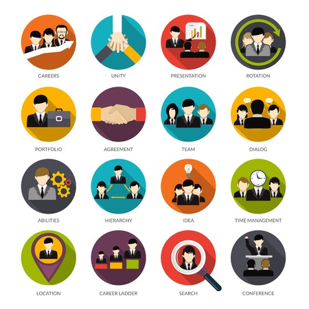 icon set: Human resources flat icons set with office hierarchy team management people rotation isolated vector illustration