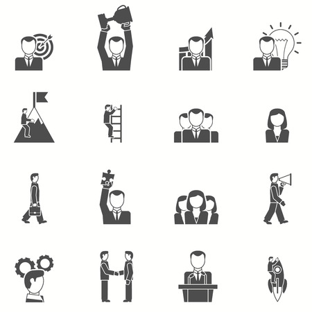 business woman: Leadership and startup icons set with puzzle cup and target black white flat isolated vector illustration