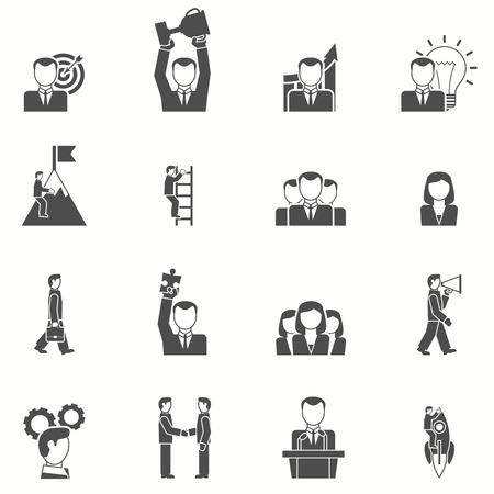 Leiderschap en startup pictogrammen die met puzzel cup en doel zwart wit vlak geïsoleerde vector illustratie Stock Illustratie