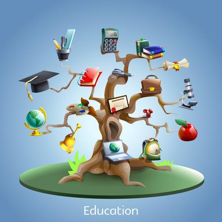 Onderwijs en studie boom concept met laptop en afstuderen certificaat op blauwe achtergrond cartoon vector illustratie