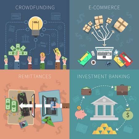remittances: Bank design concept set with crowdfunding e-commerce investments flat icons isolated vector illustration