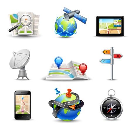 navigazione: Realistic gps route search and navigation icons set isolated vector illustration