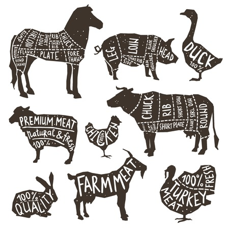 pork meat: Farm animals and poultry silhouette icons set with typographics isolated vector illustration