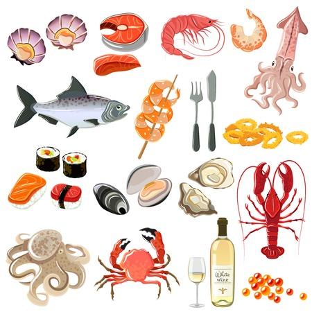 almeja: Iconos Marisco establecen con camarones langosta sushi y una botella de vino blanco ilustración vectorial