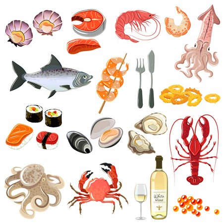 dishes set: Seafood icons set with sushi lobster shrimp and white wine bottle isolated vector illustration