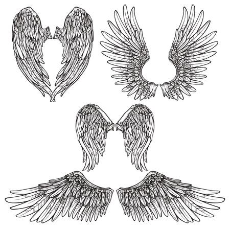 tatouage ange: Ange ou d'oiseaux ailes ensemble de croquis abstrait isol� illustration vectorielle