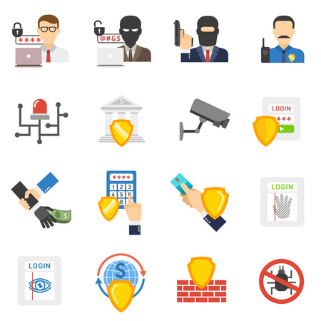 hackers: Internet banking system safety flat icons set with virus and hackers detecting software abstract isolated vector illustration