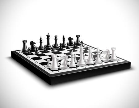 黒と白の立体でリアルなチェス盤セット ベクトル図