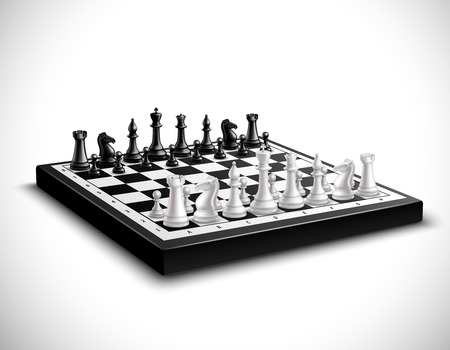 ajedrez: Tablero de ajedrez realista con figuras en blanco y negro 3d set ilustración vectorial Vectores