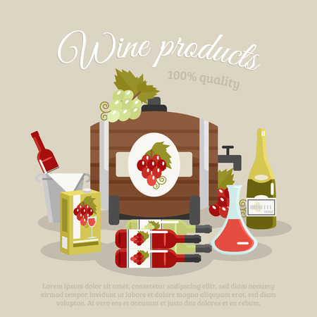 tagline: Wine products tagline still life with bottles and keg flat poster vector illustration Illustration