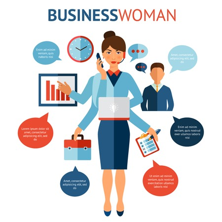 multitasking: Businesswoman with many hands multitasking design concept flat vector illustration