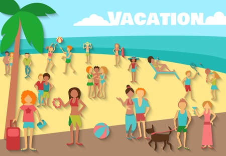 vacation: People on beach summer sea vacations activity background vector illustration