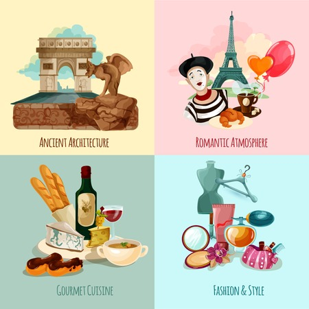 paris: Paris design concept set with architecture cuisine fashion and style cartoon icons isolated vector illustration