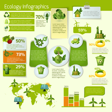 reciclar: Ecología verde y bio con la ilustración vectorial hojas infografía Vectores