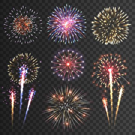 慶典: 在各種形狀的節日圖案煙花爆裂閃閃發光的象形設置對黑色背景抽象的矢量插圖孤立 向量圖像