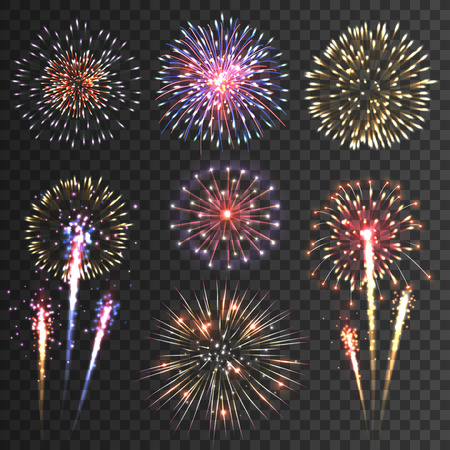 Festive patterned firework  bursting  in various shapes sparkling pictograms set  against black background abstract vector isolated illustration Çizim
