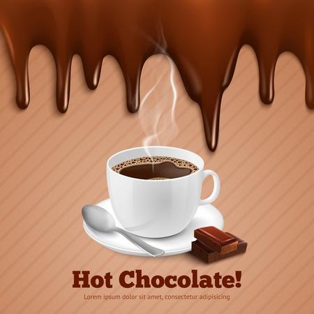 Tasse heißen Kaffee mit Schokolade splash Hintergrund Vektor-Illustration