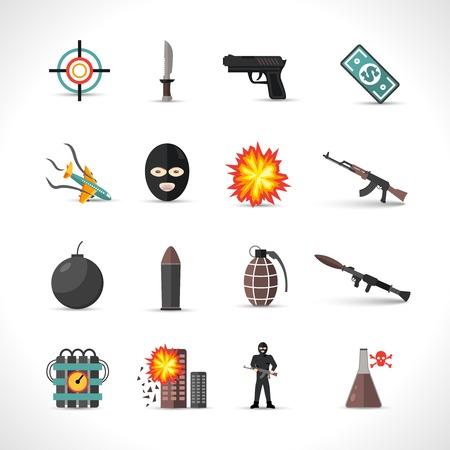 Icônes de terrorisme définis avec le type de crimes terroristes symboles isolés illustration vectorielle différente