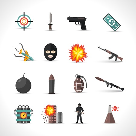gun: Terrorism icons set with different type of terror crimes symbols isolated vector illustration