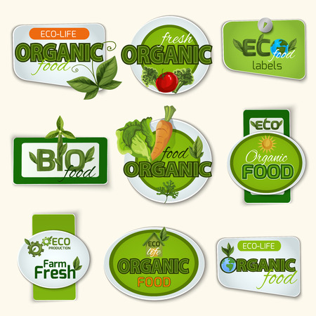 harmless: Bio and organic food farm and life green badges set isolated vector illustration