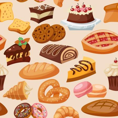 菓子パンやお菓子チョコレート スナックのシームレスなパターン ベクトル イラスト