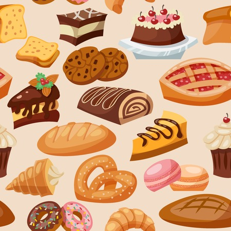 Pastry bakery and sweets chocolate snacks seamless pattern vector illustration