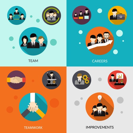 careers: Human resources design concept set with team and career improvement flat icons isolated vector illustration