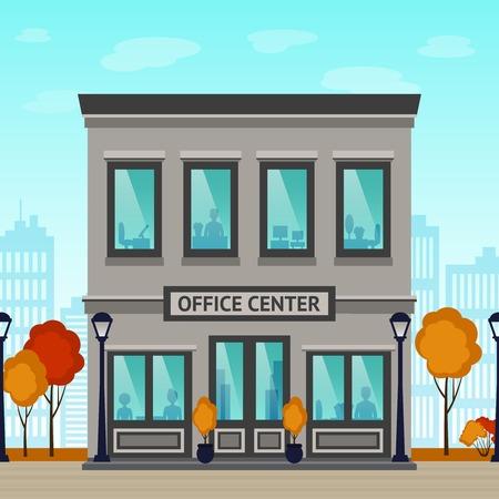 building: Centro de la oficina fachada del edificio con las siluetas en el interior y los rascacielos de la ciudad en la ilustración de fondo vector Vectores
