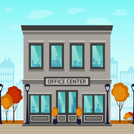 door: Office center building facade with silhouettes inside and city skyscrapers on background vector illustration Illustration