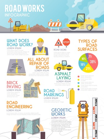 industrial template: Road worker infographics set with repair and development symbols and charts vector illustration