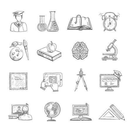 university: Education icons sketch set with blackboard globe books isolated vector illustration