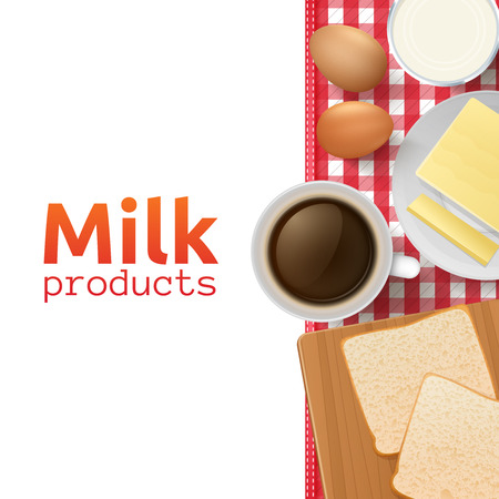 bread and butter: Milk and dairy products design concept with healthy and wholesome breakfast vector illustration Illustration