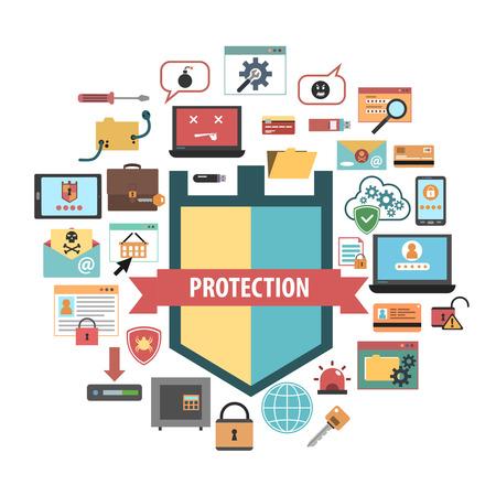 컴퓨터 바이러스 보호 방패 및 맬웨어 제거 소프트웨어 보안 개념 배너 플랫 아이콘 조성 추상적 인 벡터 일러스트 레이션