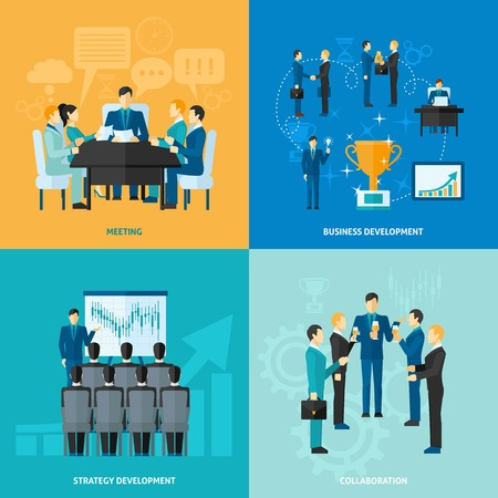 office meeting: Business design concept set with meeting strategy development and collaboration flat icons isolated vector illustration