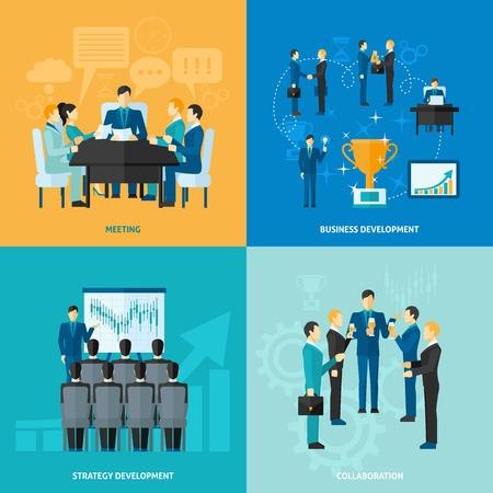 Zakelijke ontwerpconcept set met bijeenkomst strategie-ontwikkeling en samenwerking vlakke pictogrammen geïsoleerd vector illustratie