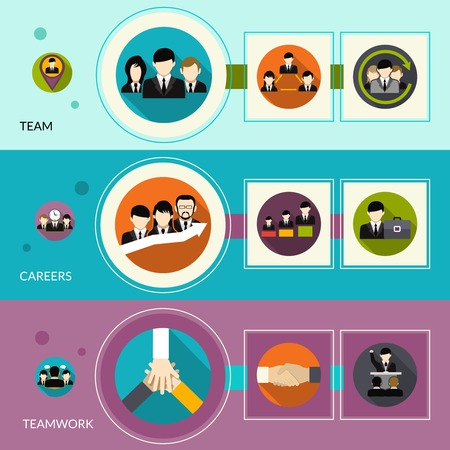 Human resources horizontal banners set with flat team career teamwork elements isolated vector illustration