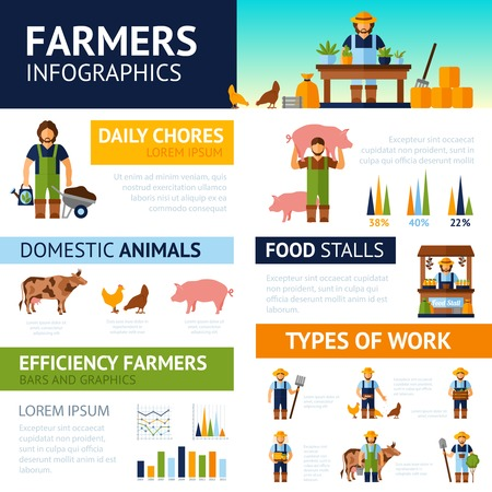 watering garden: Farmers infographics set with domestic animals symbols and charts vector illustration