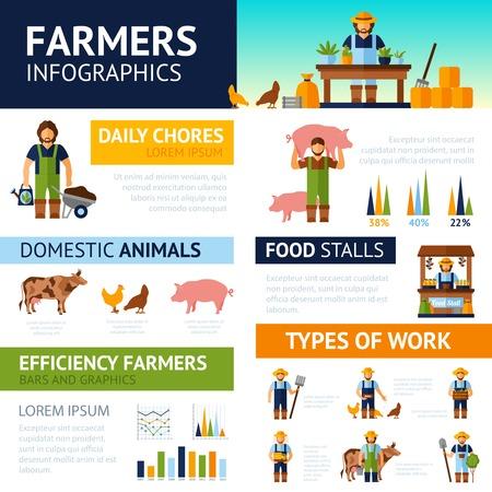 regando plantas: Infografía Agricultores establecidos con los animales domésticos símbolos y gráficos ilustración vectorial