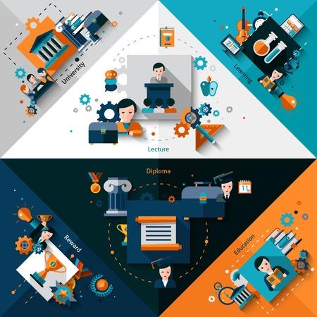 higher quality: University corners set with education graduation diploma flat elements isolated vector illustration