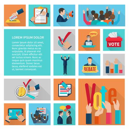 Politieke verkiezingen en stemmen platte decoratieve pictogrammen instellen geïsoleerde vector illustratie