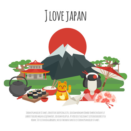 japan: Japanese national symbols with i love japan tagline color poster flat vector illustration Illustration