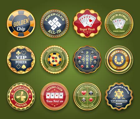 cartas poker: Royal etiquetas brillante casino club de juego de póquer conjunto con rubor y cuatro reyes abstracto aislado ilustración vectorial Vectores