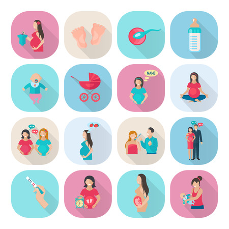 pregnancy woman: Pregnancy and mother health care icons flat set isolated vector illustration
