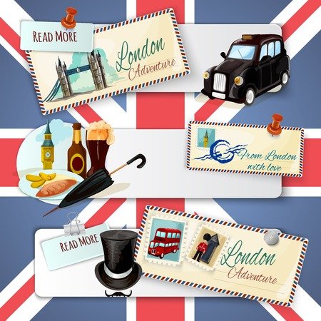 bus anglais: Londres bandeau horizontal fix� avec des �l�ments de bande dessin�e d'architecture de transport et cartes postales sur fond de drapeau isol� illustration vectorielle Illustration