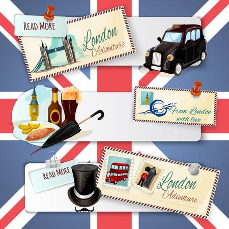 english bus: Londres bandeau horizontal fixé avec des éléments de bande dessinée d'architecture de transport et cartes postales sur fond de drapeau isolé illustration vectorielle Illustration