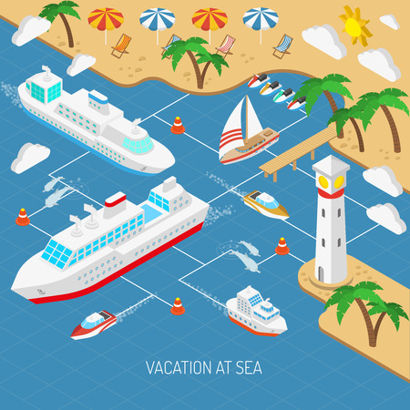 Sea vacation and ships with beach umbrellas chaise lounges and palms isometric concept vector illustration Illustration