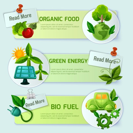 bio fuel: Ecology banner horizontal set with organic food green energy and bio fuel cartoon elements isolated vector illustration